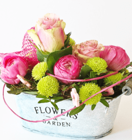 pink rose flower arrangement in bucket vase TFS The Little Flower shop florist-min(2)