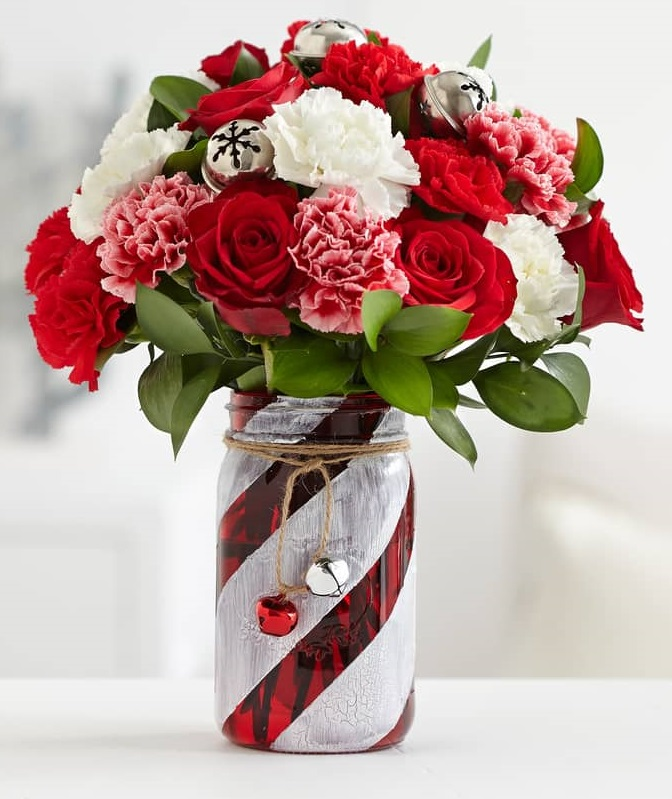 Strawberries and Cream Carnation Rose Bouquet - The Little Flower Shop