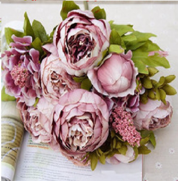 Artificial Vintage Peony Bouquet | Artificial Flowers & Vases ...