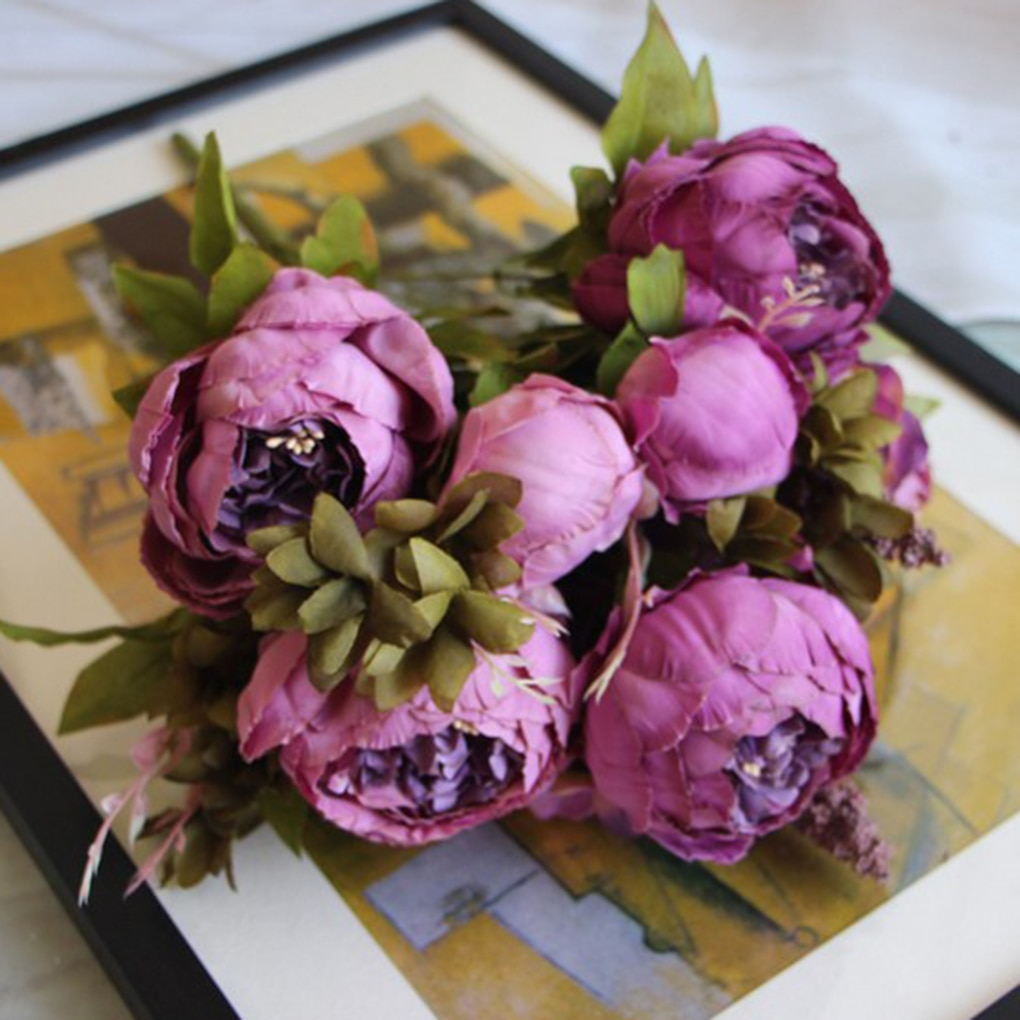 Artificial Vintage Peony Bouquet Artificial Flowers Vases